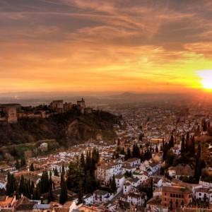 Atardecer ante la Alhambra :: Restaurante Horno de Víznar